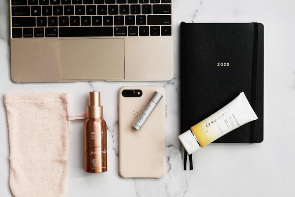 working from home beauty essentials include a magic mitt, lipdrink lip balm, hydration spray and HandDrink Hand Cream